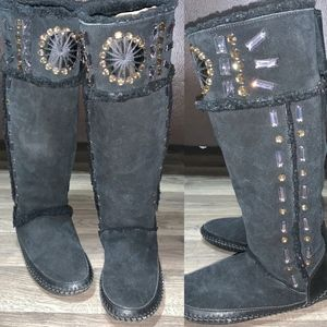 Tory Burch Embellished Suede Shearling Tall Boots